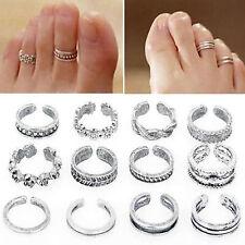 12pcs gioielli regolabili retrò argento open toe anello dito piede anelli