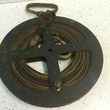 Antique Rabone Chesterman metal land measuring tape 100ft  brass markers & handl