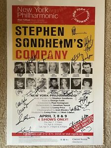 COMPANY Autographed SIGNED Window Card Poster, 2011! NY Philharmonic! SONDHEIM