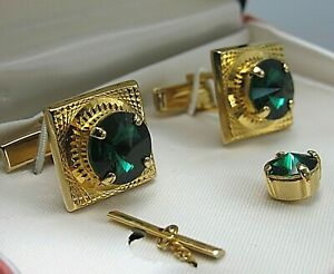 MENS CUFFLINKS FACETED EMERALD GREEN CRYSTAL in Display Box Vintage Jewelry DB62