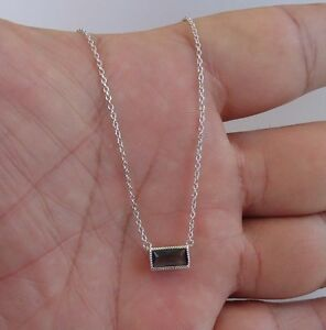925 STERLING SILVER RECTANGULAR NECKLACE PENDANT W/ .50 ct BLUE TOPAZ/18''