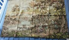 "Antique Belgian Tapestry Pastoral Village Scene – 73"" by 53"""