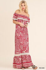 UMGEE Ruffled Off Shoulder Long Maxi Dress Casual Crochet Trim Boho Paisley