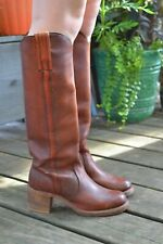 Vtg FRYE Tall Campus Boots Brown Leather Size 6 Women's Knee-High