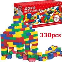 BUILDING BLOCKS 330PC COLOURFUL CREATIVE LEARNING BRICKS KIDS FUN TOY XMAS GIFT
