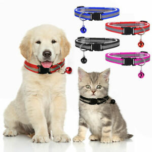 Pet Puppy Cats Dog Kitten Soft Glossy Reflective Collar Safety Buckle with Bell