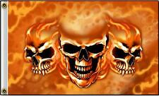DELUXE FLAMING FIRE TRIPLE SKULL FLAG wall banner #535 BIKER 3x5 sign flags NEW