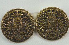 Vintage Metal Button Archid Avst Dux Burg Co Double Eagle Coin Repro Set of 2