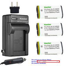 Kastar Battery AC Charger for Kodak KLIC-8000 K8000 & Kodak Z8612 IS Camera