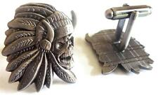 INDIAN CHIEF Skull Biker Harley Motorcycle Mechanic Cufflinks Cuff Links Set