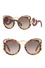 🍀PRADA Minimal Baroque Swirl PR07TS VAH4K0 Red Brown Havana Gold Sunglasses NEW