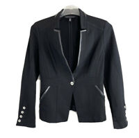 White House Black Market Size 4 Black One Button Blazer Jacket Up Notch Collar