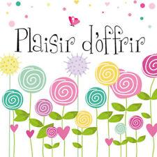 """50 Etiquettes autocollantes stickers """"Plaisir d'offrir""""  motif fleurs couleurs"""