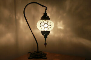Pure White Turkish Colour Moroccan Mosaic Handmade Glass Light Desk Table Lamp
