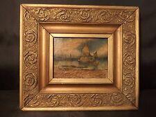 Antique marine oil miniature painting