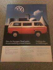Vintage 1982 VOLKSWAGEN VW VANAGON DIESEL BUS CAR Print Ad 1980s RARE