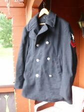 US NAVY BLACK WOOL PEA COAT Petty Officer 2nd Class Operations Specialist Sz 40R