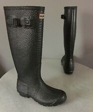 Hunter Tall Carnaby Boa Pewter Snake Print Rain Boots US Size 6