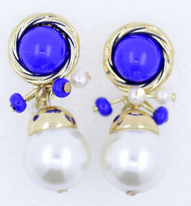 Blue button roped trim with pearl drop earrings