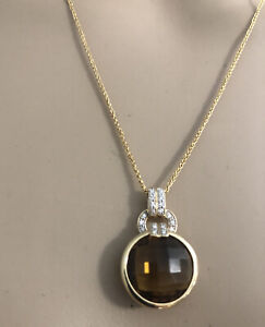 14k Foxtail chain with round bezel set smokey topaz with pave diamonds 20""