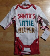 Modern Baby Santa's Little Helper Christmas Infant Boy's Outfit 3-6 Months