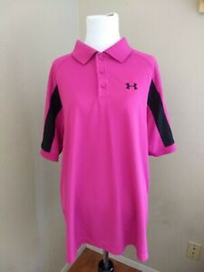 Women's Under Armour Pink Polo Shirt Breast Cancer Embroidered - EUC - Size XL