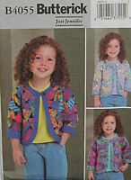 Toddler Patchwork Jacket Pattern 1-3 Butterick 4055 OOP