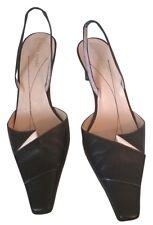 Kate Spade Mules Low Heels Black Nude Beige Leather Slingback Designer Shoes 8 N