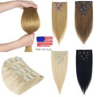 7pcs Clip in Hair Extensions Remy Human Hair Straight Natural Hair Full Head USA
