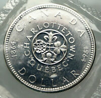 1964 CANADA Quebec Charlottetown Antique Genuine BIG SILVER Dollar Coin i85115