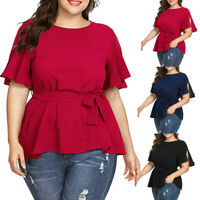 Women Solid Plus Size Short Sleeve Shirt Belted Knot Casual Party P Blouse Tops