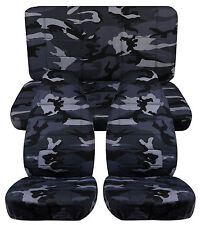 97-2001 Jeep Cherokee XJ Sport  Front+Back car seat covers camouflage gray # 22