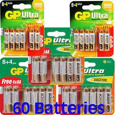 60 GP Batteries ULTRA 1.5V ALKALINE HOCHLEISTUNG 2 x 12pks AAA, 3 x 12pks AA