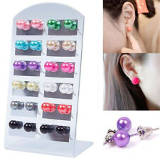 12 Pairs New Style Women Fashion Party Beauty Round  Pearl Ear Stud Earring Set