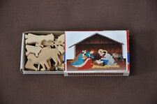 Mini Match Box Nativity Set  Hand Cut Wooden Christmas Miniature Toy