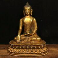 """8"""" Chinese Tibet old antique bronze gilt gold handmade Shakyamuni Buddha statue"""