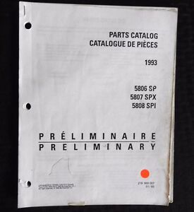 GENUINE 1993 SEA DOO SP SPX SPI JET SKI WATERCRAFT WAVERUNNER PARTS MANUAL