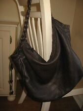 XL Brown Pebbled Leather Hobo Purse by Desmo Italy Strap Suede Interior