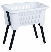Wäschekorb weiß mit ausklappbaren Füßen/Beinen - Wäschesammler Wäsche Korb Stand