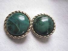 Vintage  Clip On Earrings Gold Tone Metalic Edge with Marbalized Green Acylic