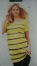 BNWT *NEXT*Size 12(uk)Yellow CHIFFON SEQUINS OVERSIZED Party Top /Blouse (40 EU)