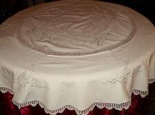 NAPPE SERVICE DE TABLE BRODE ET CROCHET MAIN RONDE DE 180 BLANC OU ECRU + SERV