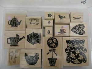 Stampin' Up! Rubber Stamp Set FUNKY FAVORITES couch teapot Wood Block NEW