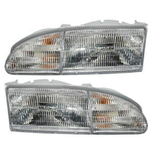 Pair Headlights fit 1994-1995 Ford Thunderbird Driver & Passenger Headlamps Set