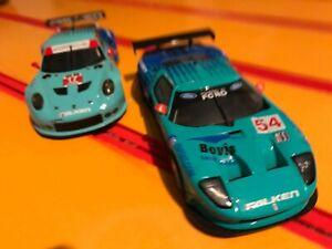 Ninco ford gt40 and scalextric porsche 991 rsr falken tyres 1/32 slot car