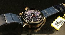 @NEW Invicta Men's 54mm Russian Diver Chronograph Leather Strap Watch 22292 Gold