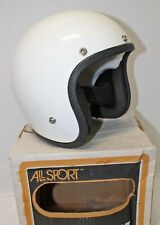"RARE! Vintage All Sport ""Royal Enfield"" White Motorcycle Helmet w/ Box 70's Era"