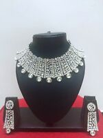 Indian Designer Bollywood Rhodium Plated Fashion Bridal Jewelry Necklace Set