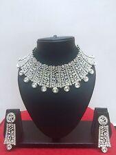 Indian Designer Bollywood Rhodium Plated Fashion Bridal Jewelry Necklace Set