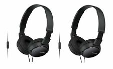 2-PACK Sony MDR-ZX110AP Extra Bass Headphones w/ Microphone, Black